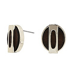 The Collection - Gold oval wood earring