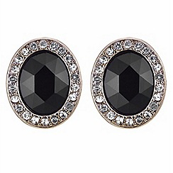 The Collection - Black crystal pave surround stud earring