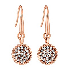 The Collection - Rose gold crystal circle drop earring