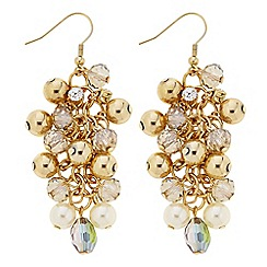 The Collection - Gold and green bead drop earring
