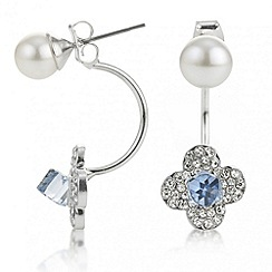 The Collection - Blue crystal flower and pearl front and back earring