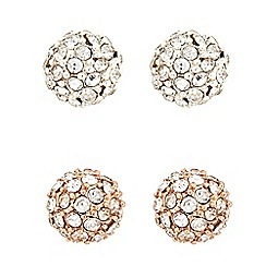 The Collection - Rose gold and silver pave circle earring set