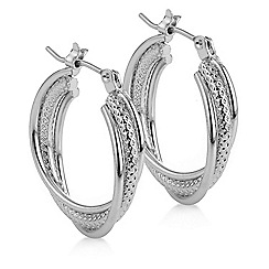The Collection - Silver textured hoop earring