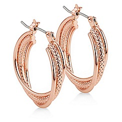 The Collection - Rose gold textured hoop earring