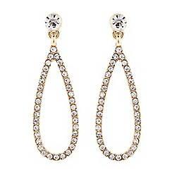 The Collection - Gold crystal open peardrop earring