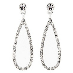 The Collection - Silver crystal open peardrop earring