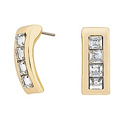 The Collection - Gold square crystal curve earring