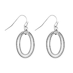 The Collection - Silver double ring drop earring