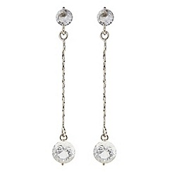 The Collection - Silver chain crystal drop earring