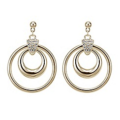 The Collection - Gold pave double ring drop earring