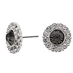 The Collection - Crystal surround round stud earring