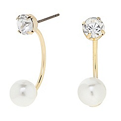 The Collection - Gold pearl and crystal drop earring