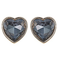 The Collection - Rose gold grey crystal heart stud earring