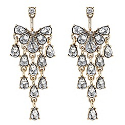 The Collection - Gold crystal chandelier front and back earring