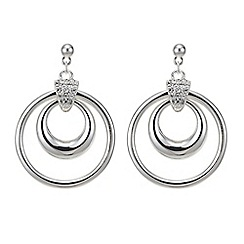 The Collection - Silver pave double ring drop earring