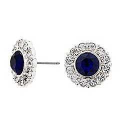 The Collection - Blue crystal surround round stud earring