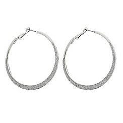The Collection - Silver glitter hoop earring