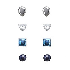 The Collection - Set of four blue mix stud earrings