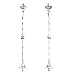 The Collection - Silver crystal leaf chain drop earring