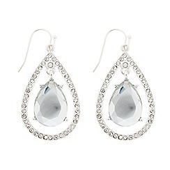 The Collection - Silver crystal floating peardrop earring