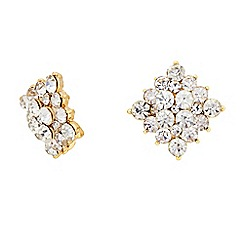 The Collection - Crystal cluster square earring