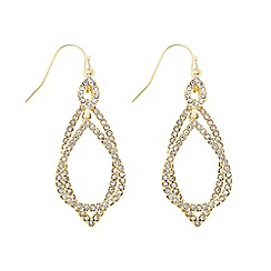 The Collection - Gold double layer pave swing earring