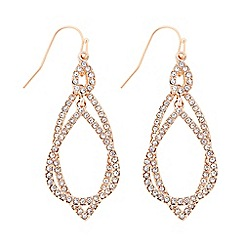 The Collection - Rose gold double layer pave swing earring