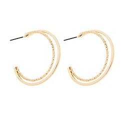 The Collection - Gold textured hoop double row hoop earring
