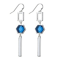 The Collection - Blue crystal geometric drop earring