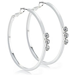 The Collection - Silver crystal front hoop earring