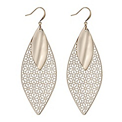 The Collection - Rose gold filigree leaf drop earring