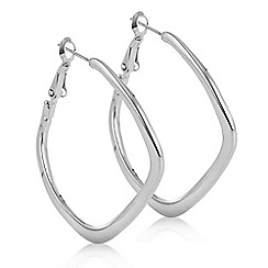 The Collection - Silver angular hoop earring