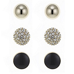 The Collection - Gold pave ball stud earing set