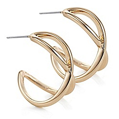 The Collection - Rose gold double hoop twist earring