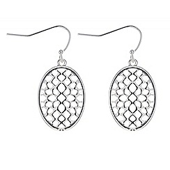 The Collection - Silver filigree oval drop earring