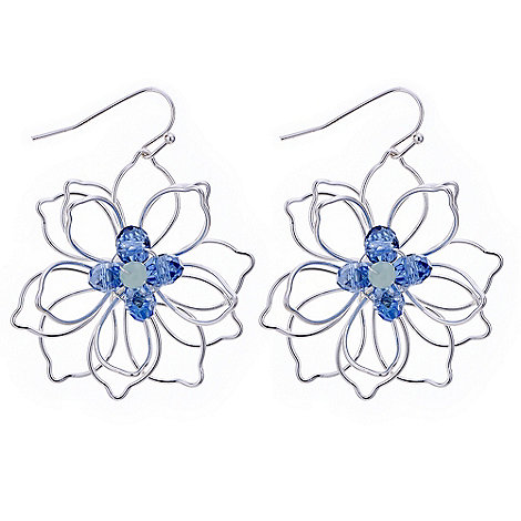 The Collection - Blue silver wire flower earring