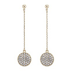 The Collection - Gold pave circle drop chain earring
