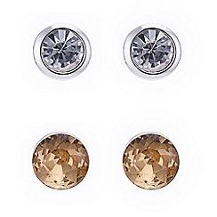 The Collection - Gold crystal and silver stud earring set