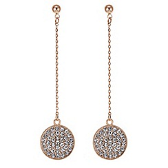 The Collection - Rose pave circle drop chain earring