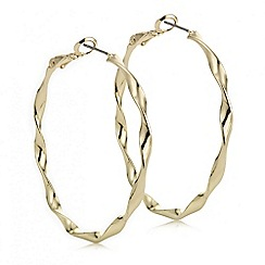The Collection - Gold twisted large hoop earring