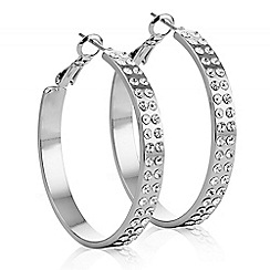 The Collection - Silver double row crystal hoop earring