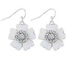 The Collection - Cream pearl crystal floral earring