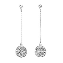 The Collection - Silver pave circle drop chain earring