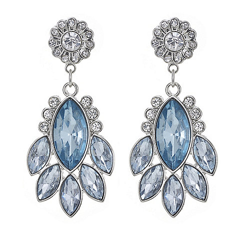 The Collection - Blue crystal flower drop earring