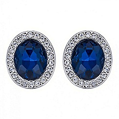 The Collection - Blue crystal oval stud earring