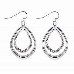 The Collection - Silver double peardrop earring