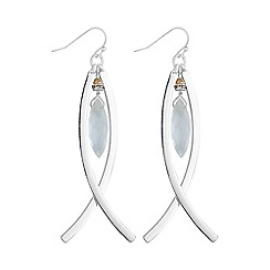 The Collection - Silver curved drop earrings