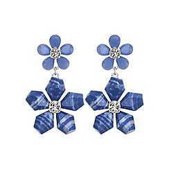 The Collection - Blue flower statement earring