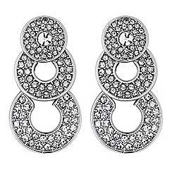 The Collection - Silver crystal circle drop earrings