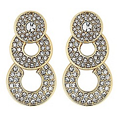 The Collection - Gold crystal circle drop earrings